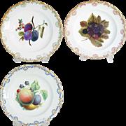 Set of Three German Meissen Porcelain Fruit Plates - Red Tag Sale Item