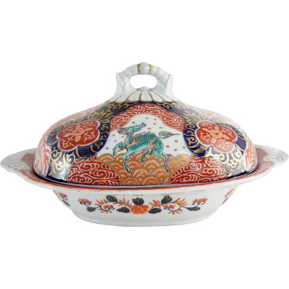 English Imari Style Ironstone Covered Serving Dish