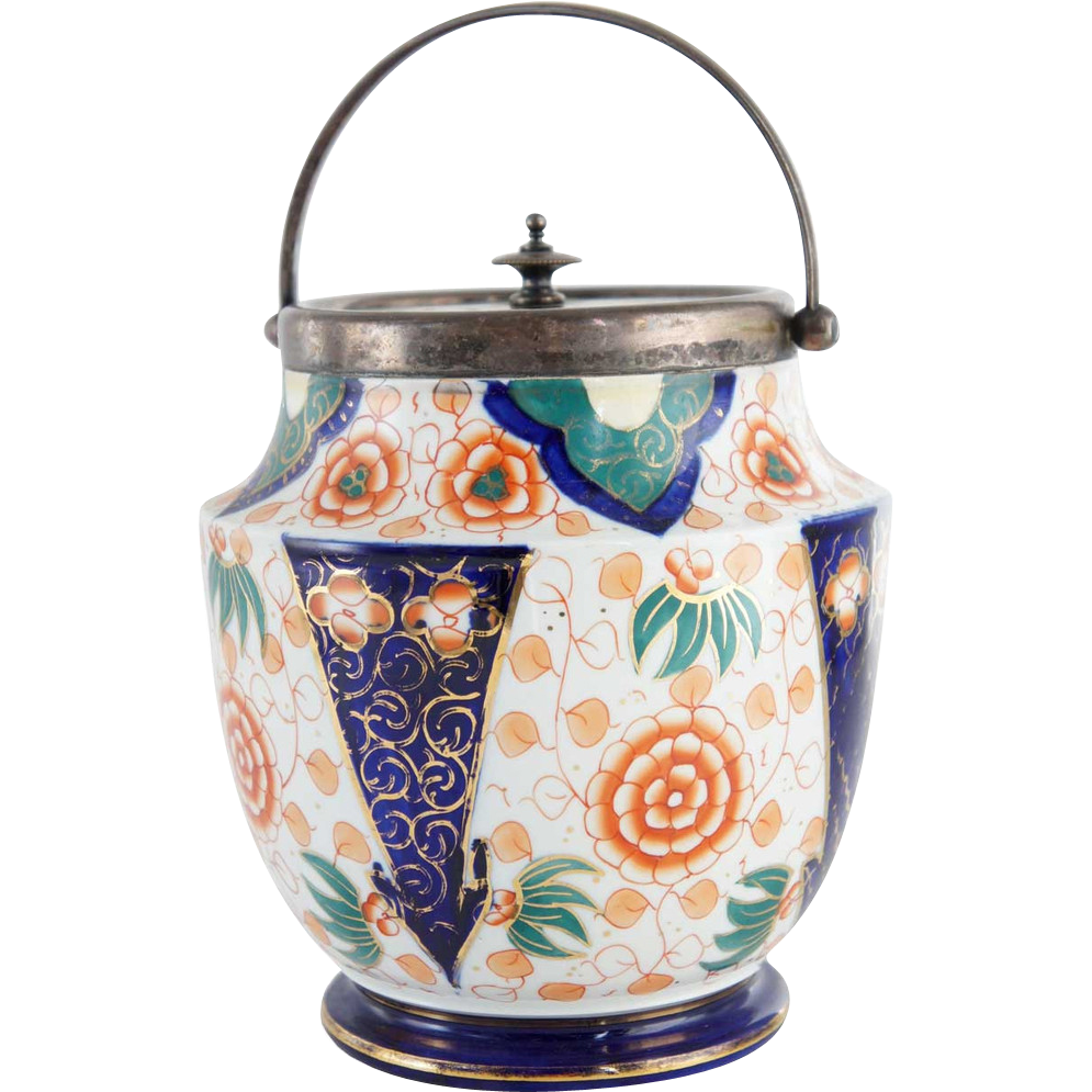 English Imari Style Pottery and Silverplate Biscuit Barrel