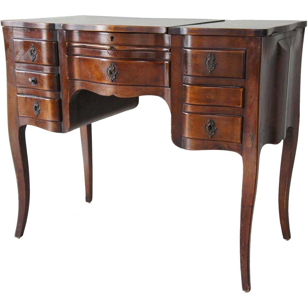 French Louis XV Style Walnut Lift-Top Dressing Table (Poudreuse)