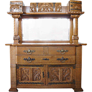 American Renaissance Revival Mirrored Oak Sideboard