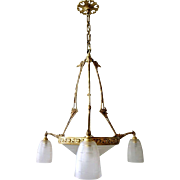 French Cast Brass and Wheel-Cut Glass Three-Light Chandelier