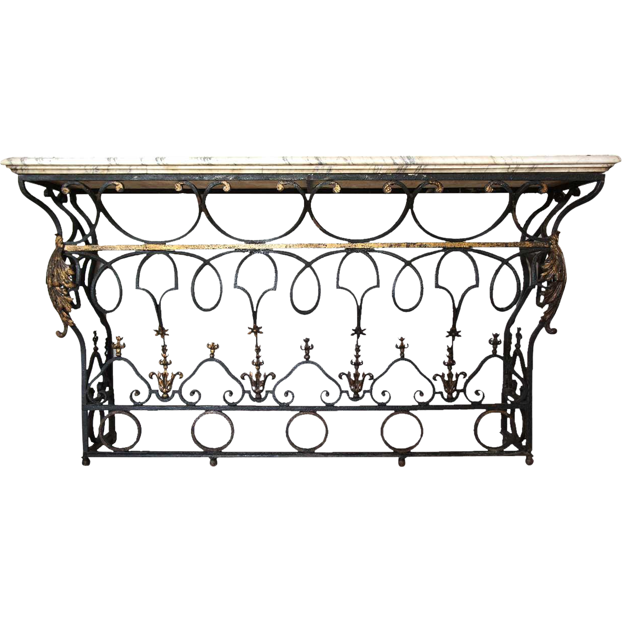 French marble top wrought iron balcony as a console table from french marble top wrought iron balcony as a console table geotapseo Choice Image