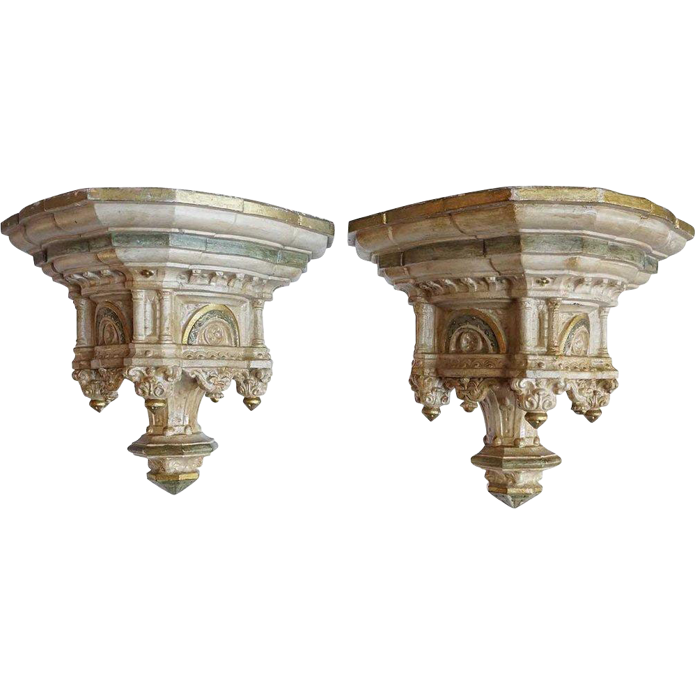 Pair of French Painted Terracotta Brackets