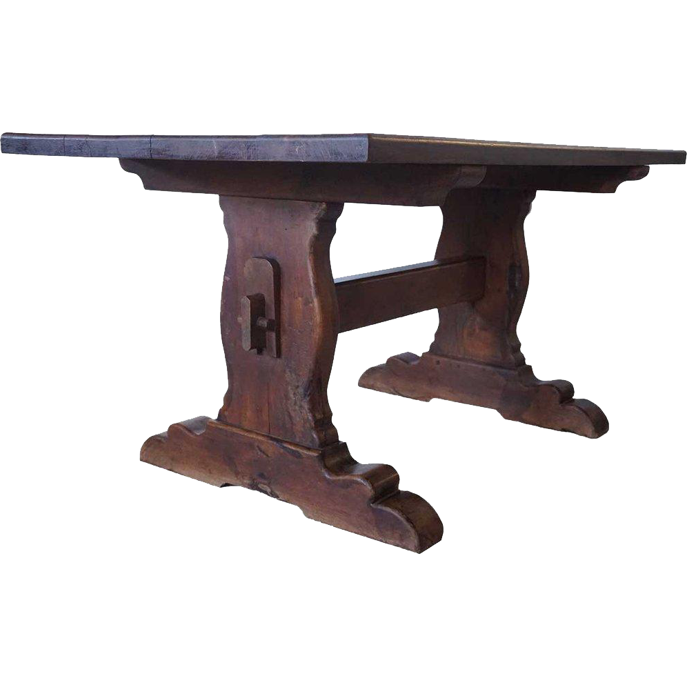 Large vintage mesquite trestle dining table from for Trestle dining table