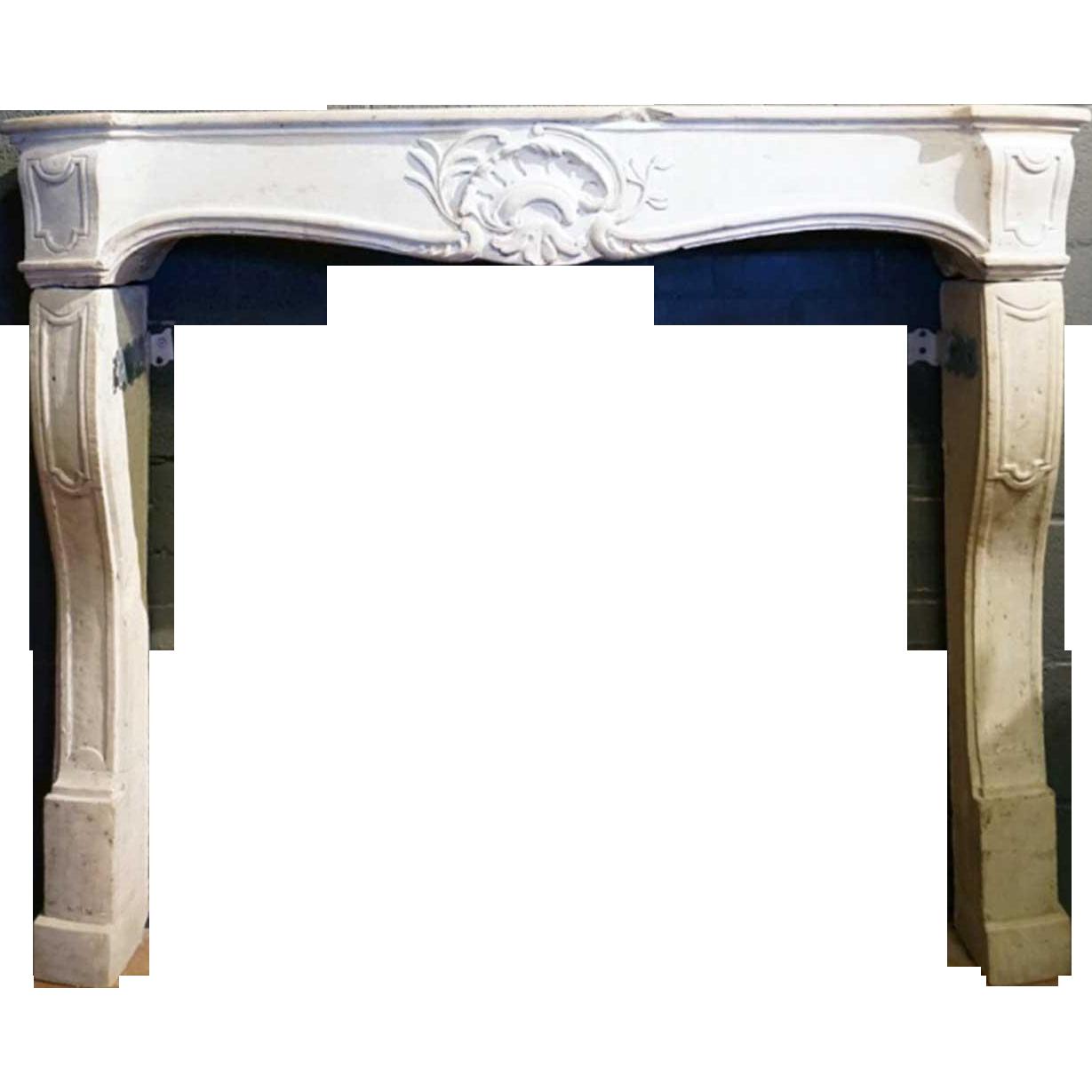 French Louis XV Limestone Fireplace Surround