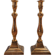 Pair of English George III Bell Metal Candlesticks