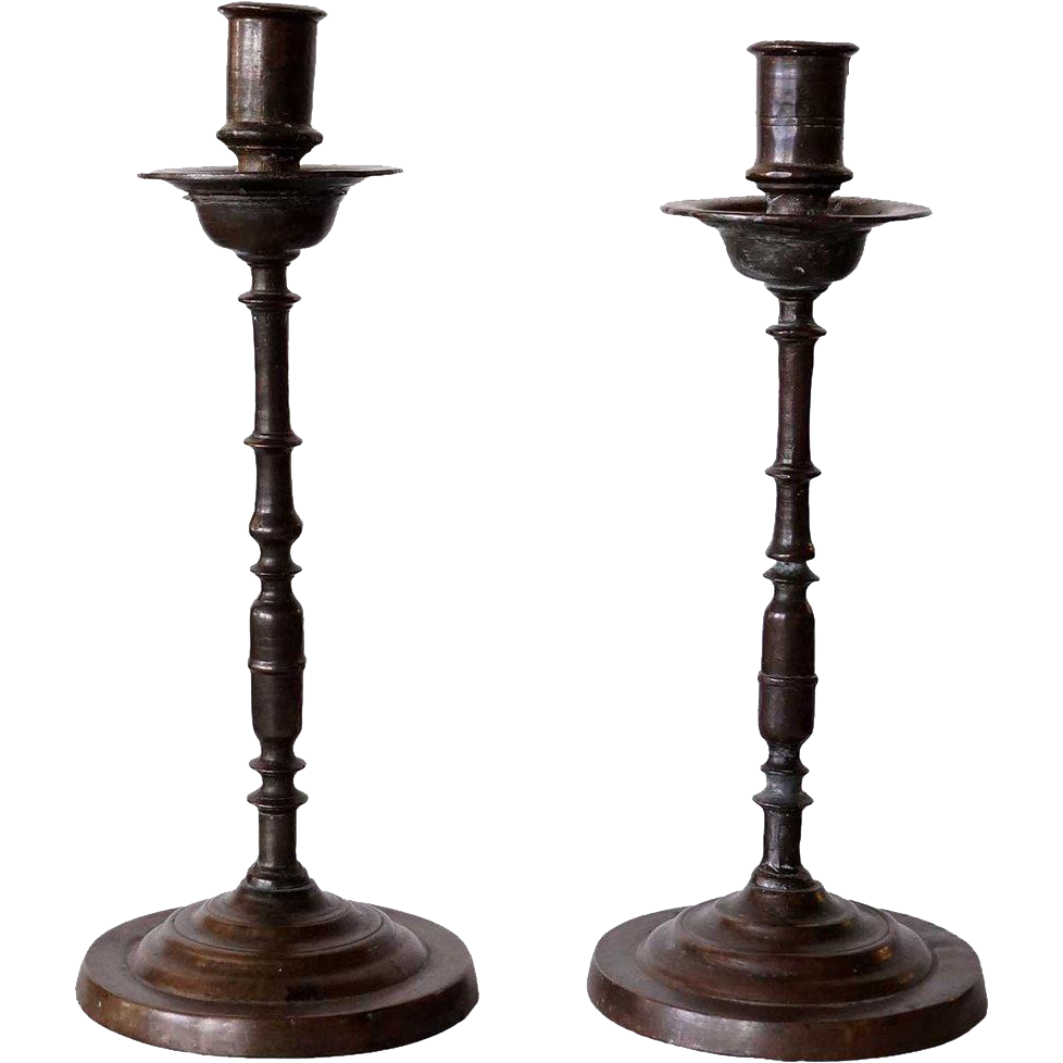 Pair of Italian/Spanish Baroque Bronze Candlesticks