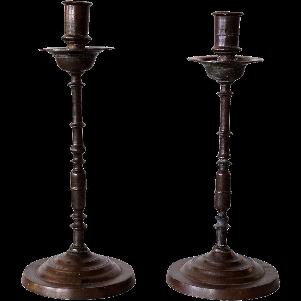 Pair of Italian/Spanish Baroque Bronze Candlesticks