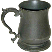 English Early Victorian Pewter Imperial Pint Tavern Mug