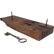 Early 18th Century French Hand Wrought Iron Key with Cherrywood Lock Box