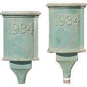 Two English Painted Iron Rain Scuppers