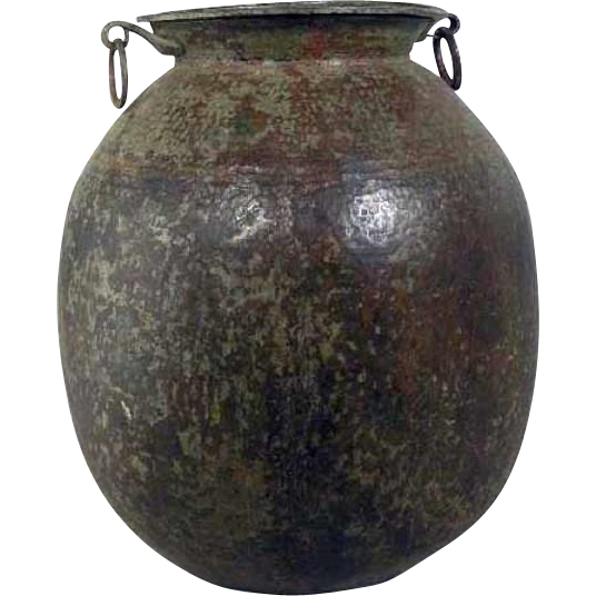 Very Large Indian Hammered Copper Water Storage Pot Garden Jardinere