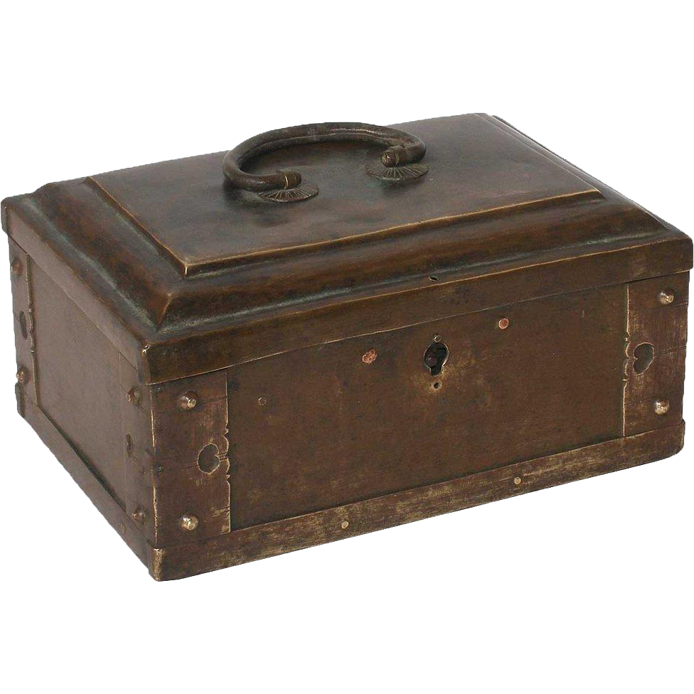 Small Indian Cast Brass Spice Box or Tea Caddy
