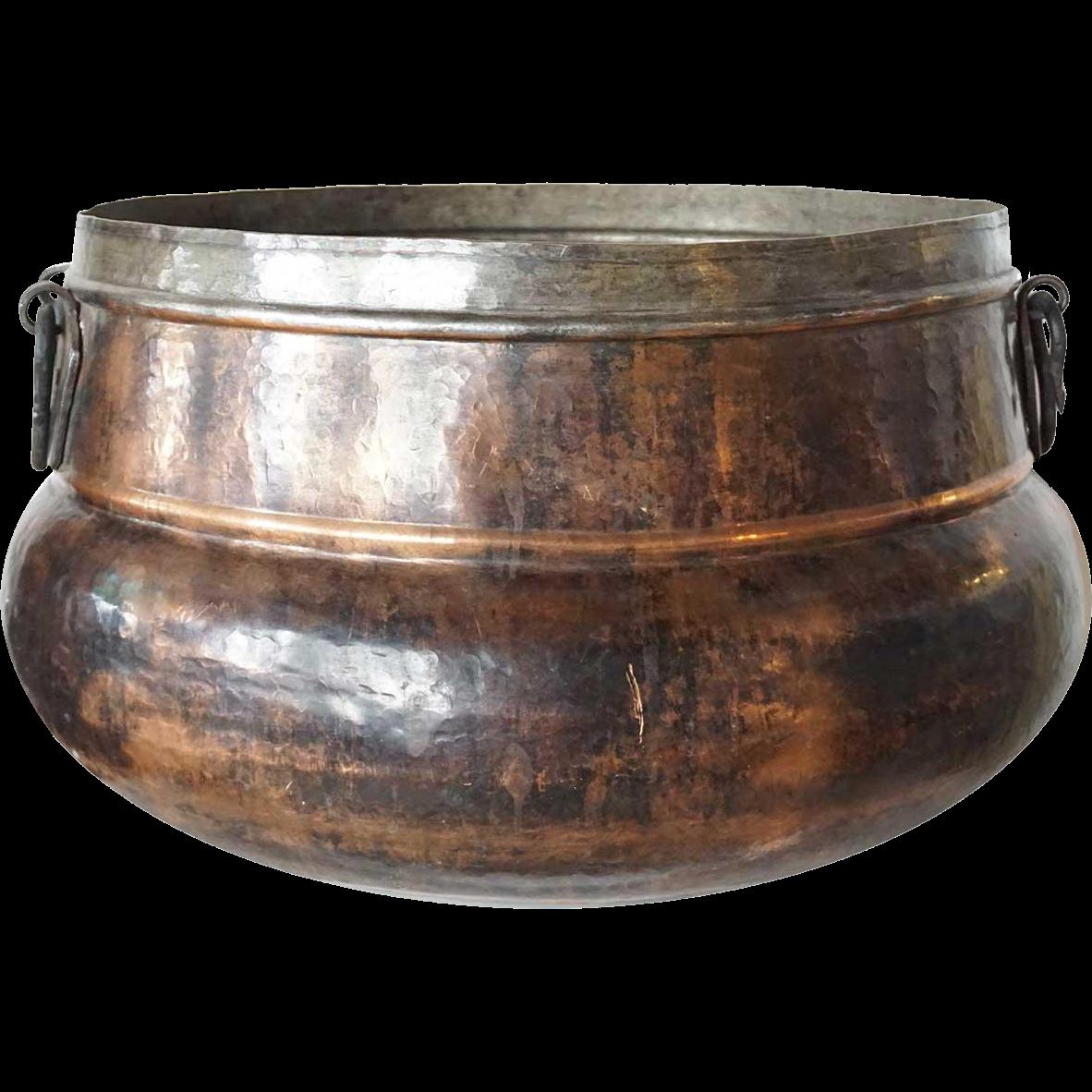 Mediterranean Hammered Copper and Iron Vessel