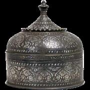 Large Indian Mughal Silver Inlaid Bidri Round Box