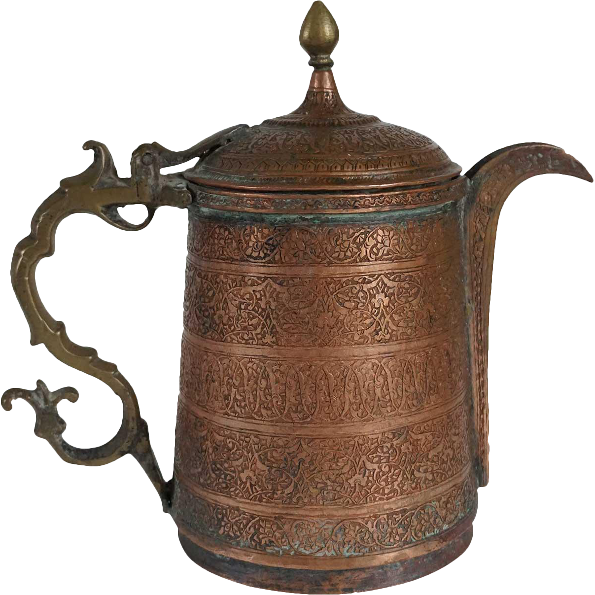 Indian Mughal Chased Copper and Brass Teapot