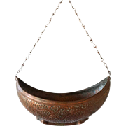 Kashmir Mughal Copper and Bronze Begging Bowl (Kashkul)