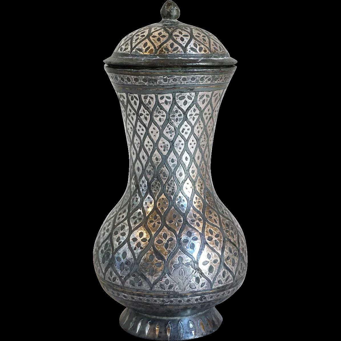 Indian Mughal Silver Inlaid Bidri Baluster Lidded Jar