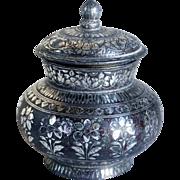 Small Indian Mughal Silver Inlaid Bidri Lidded Jar