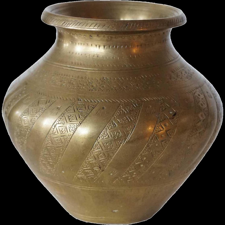 Indian Mughal Brass Water Pot (Lota)