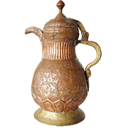 Indian Mughal Chased Copper and Brass Coffee Pot