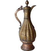 Indian Mughal Copper and Brass Ewer