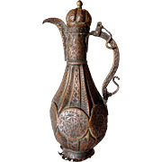 Small Indian Mughal Copper Teapot/Wine Ewer