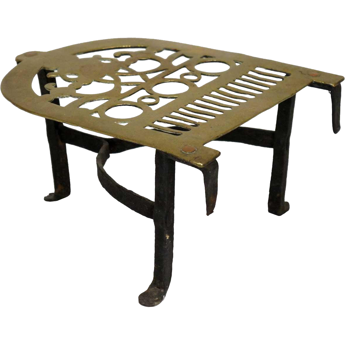 English Victorian Brass and Iron Fireplace Fender Trivet