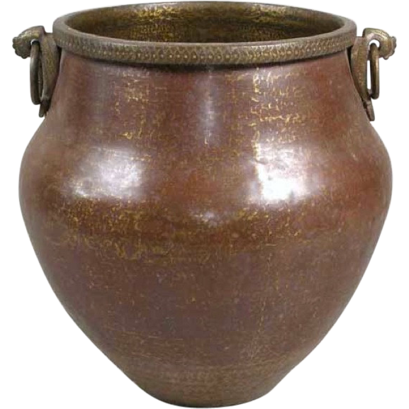 Large Antique  South Indian Hammered Copper Water Storage Pot / Planter