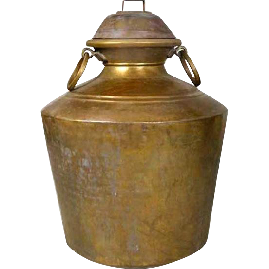 Large Indian Brass Storage Pot with Lid