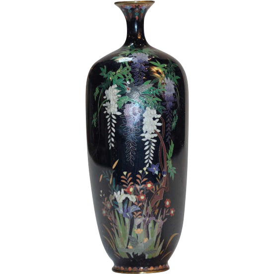Japanese Cloisonne Enamel Wisteria Pattern Cabinet Vase