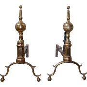 Pair of American New York Federal Bell Metal Fireplace Andirons