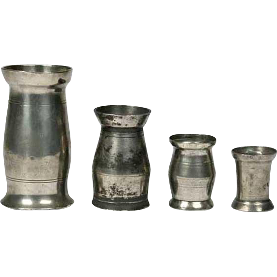 Set of Four Irish Pewter Graduated Tavern Measures