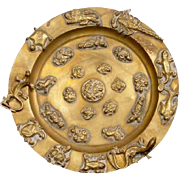 Tibetan Round Brass Dish with Applied Animal and Figure Motifs