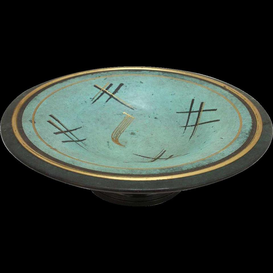 Vintage German WMF Painted Metal Footed Bowl