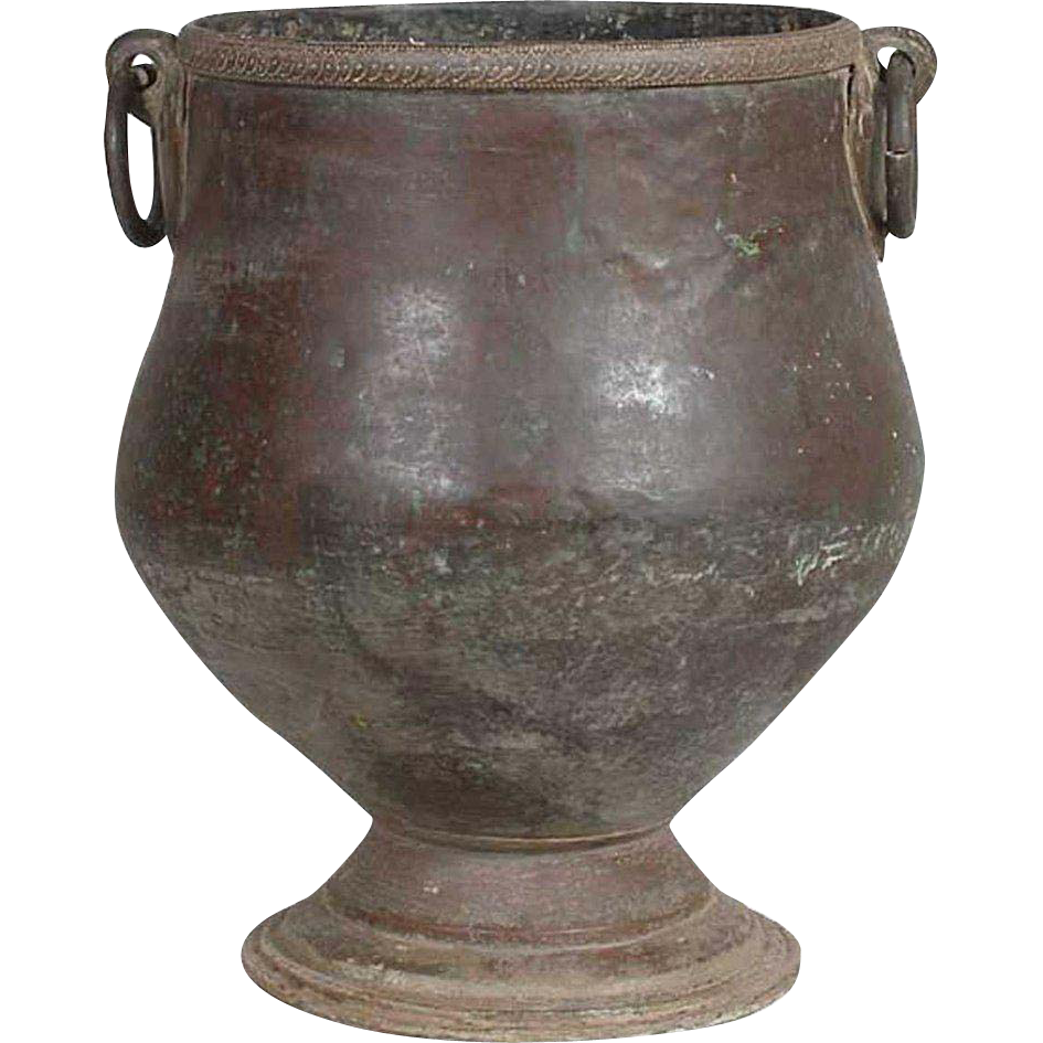 Large South Indian Hammered Brass Mounted Copper Water Storage Pot