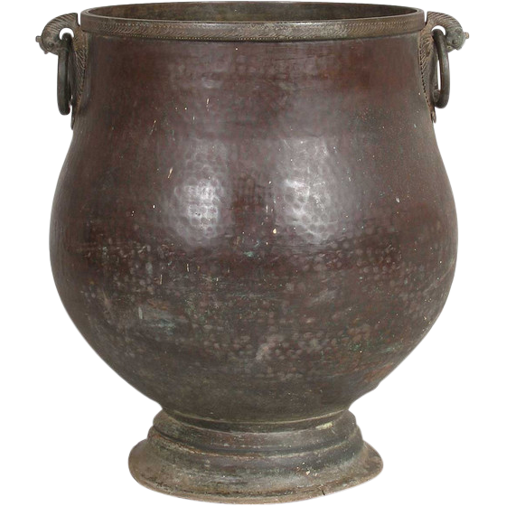 Large South Indian Hammered Copper Water Storage Pot, Planter