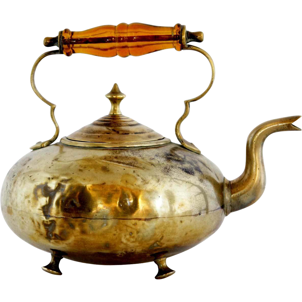 English James Clews Glass Handle Brass Tea Pot/Toddy Kettle