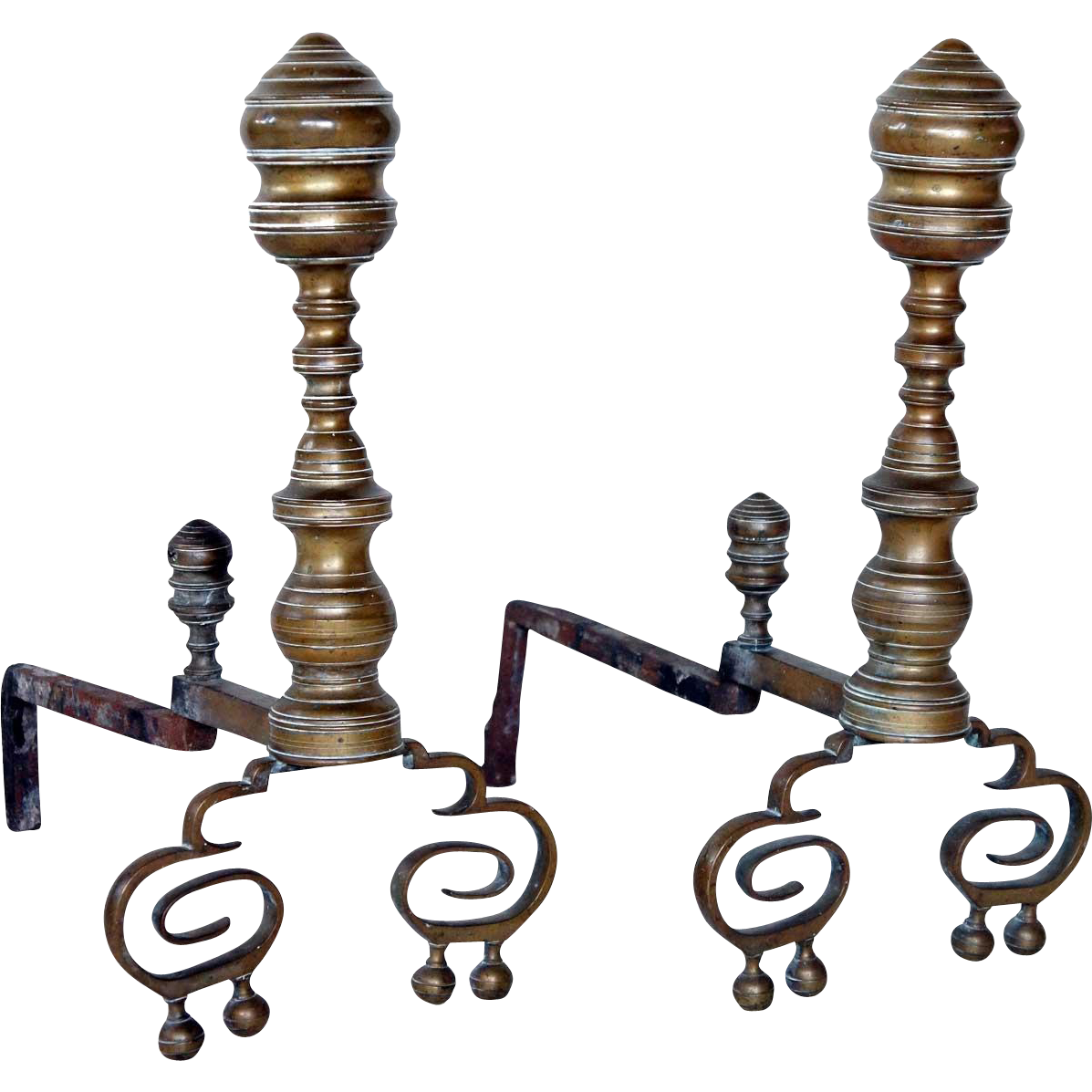 Pair of American Chippendale Style Brass Beehive Fireplace Andirons