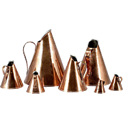 Set of Seven Scandinavian Wenstrom Graduated Cone Shaped Copper Measures