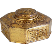 American Tiffany Studios Bronze Dore Zodiac Pattern Inkwell