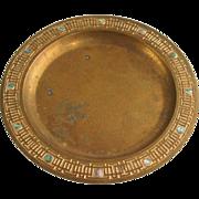 American Tiffany Studios Bronze Dore and Abalone Plate