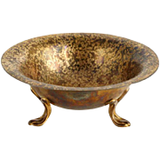 Small American Louis C. Tiffany Furnaces Favrile Bronze Dore Footed Bowl