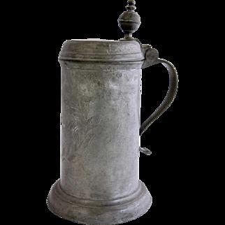 German Engraved Pewter Lidded Tankard