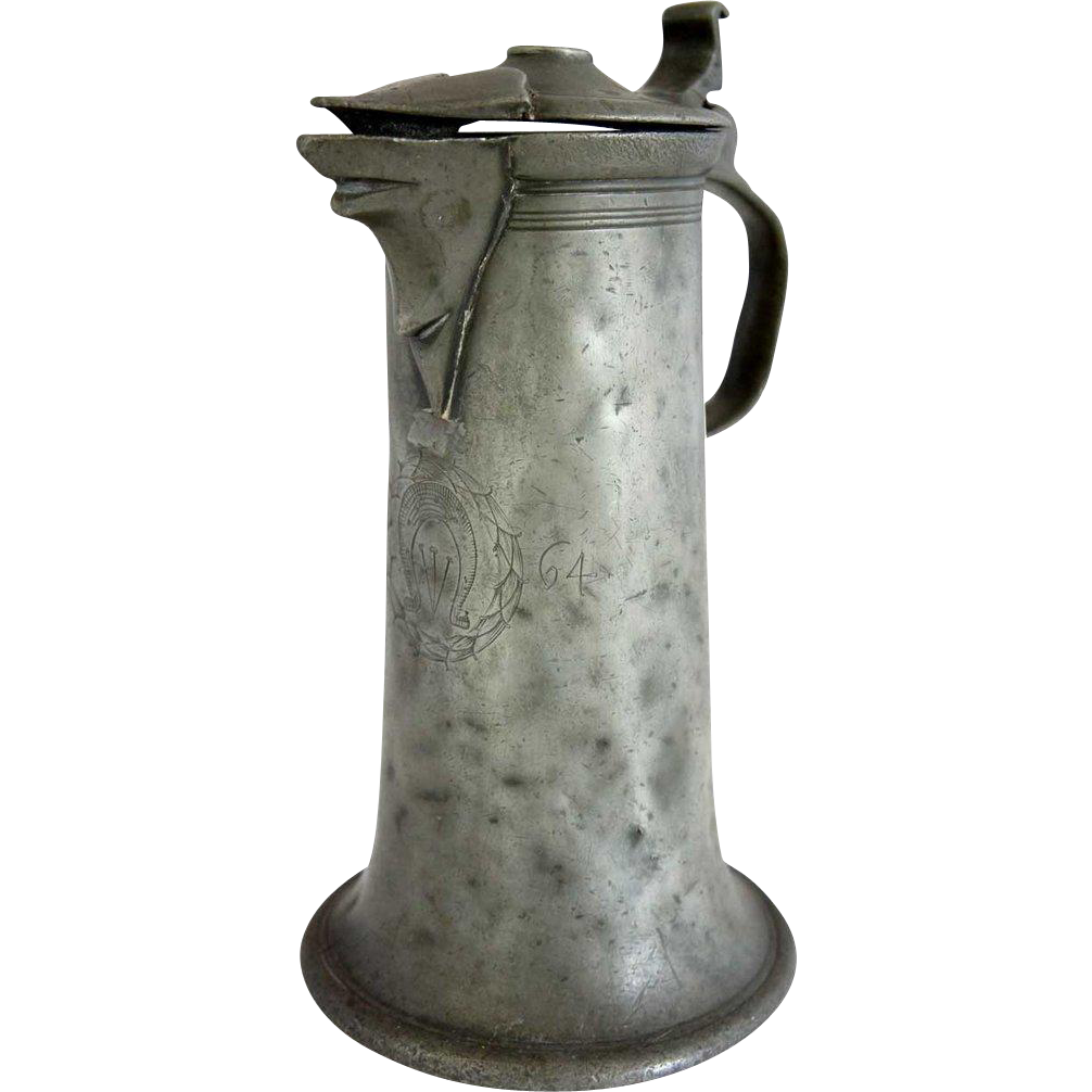 Continental Pewter Lidded Flagon or Stitzen