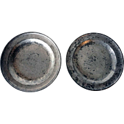 Pair of English Export Georgian Samuel Ellis Pewter Plates
