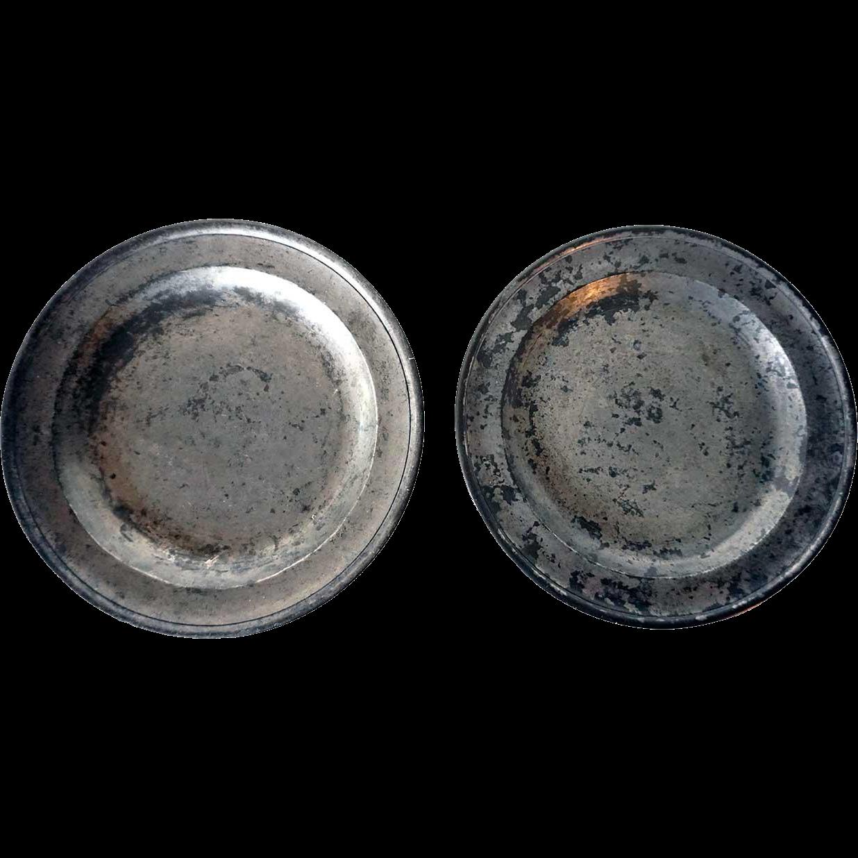 Pair of English Export Georgian Samuel Ellis Pewter Plates