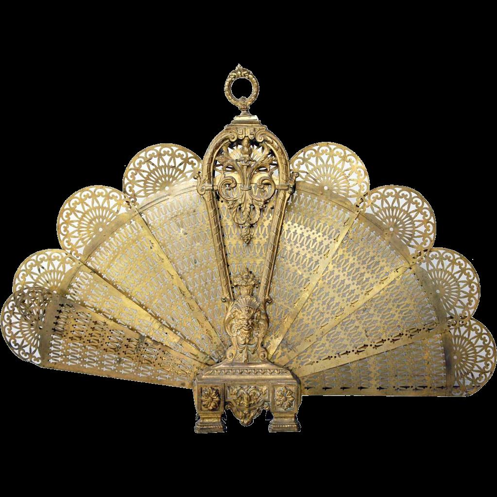French Louis XVI Style Brass Folding Fan Fireplace Screen