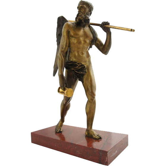 Early 19th century Italian Gilt Bronze Statue of Chronos